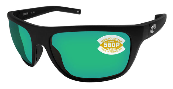 Costa Del Mar Broadbill Matte Black Green Mirror 580 Plastic Polarized Lens