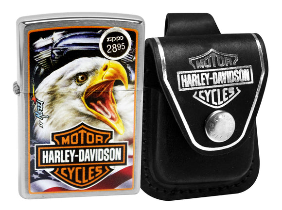 Zippo 29499 Brushed Chrome Lighter + Harley Davidson HDPBK Black Leather Pouch