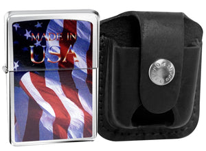 Zippo Lighter 24797 Made In Usa Flag + LPTBK Black Leather Belt Clip Pouch