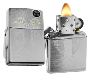 Zippo 29069 Angel Wings Chrome Arch Finish Engrave Windproof Pocket Lighter New
