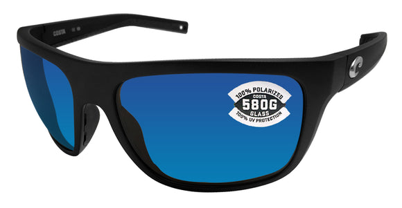 Costa Del Mar Broadbill Matte Black Frame Blue Mirror 580 Glass Polarized Lens
