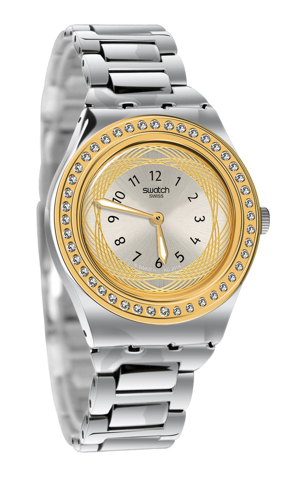 Swatch YLS210G Senora Silver Gold Dial Crystals Case Steel Bracelet Watch New