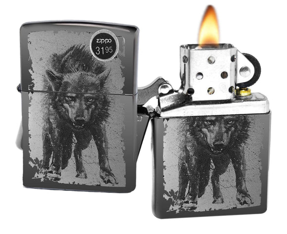 Zippo 49073 Wolf Design black Ice attacking wolf photo image NEW