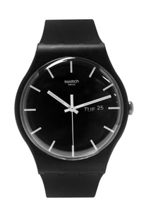 Swatch SUOB720 Mono Black Day Date Silicone Rubber Watch, $75