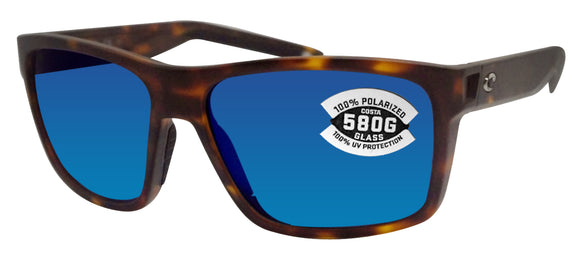 Costa Del Mar Slack Tide Tortoise Frame Blue Mirror 580G Glass Polarized Lens