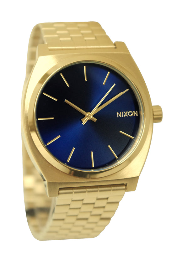 Nixon A0451931 Time Teller Blue Analog Dial Gold Steel Band Unisex Watch NEW