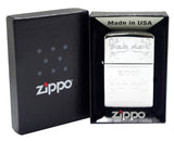 Zippo 250 High Polish Chrome Lighter + Black Leather Pouch Clip