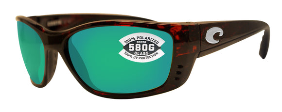 Costa Del Mar Fisch Tortoise Frame Green Mirror 580 Glass Polarized Lens