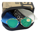 Costa Del Mar Peli Brushed Gold Frame Green Mirror 580 Plastic Polarized Lens