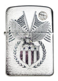 Zippo 29093 American Eagle USA Flag Brushed Chrome Windproof Pocket Lighter New