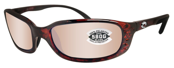 Costa Del Mar Brine Tortoise Frame Copper Silver Mirror 580 Glass Polarized Lens