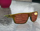 Costa Del Mar Bloke Verde Teak Black Frame Copper 580P Plastic Polarized Lens