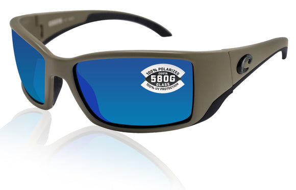 Costa Del Mar Blackfin Matte Moss Frame Blue Mirror 580 Glass Polarized Lens
