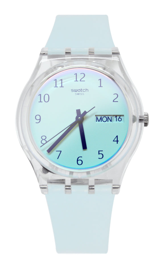 Swatch GE713 Ultraciel White Analog Dial Sky Light Blue Silicone Band Watch New