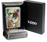 Zippo Lighter 29837 Chinese Dragon Tiger Street Chrome Finish Windproof New