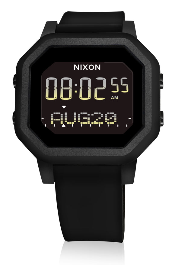 Nixon A1210001 Siren All Black Digital Day Date Dial Silicone Band Watch New