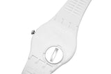 Swatch Originals GW409 Frechia White Black Analog Date Dial Rubber Band Watch