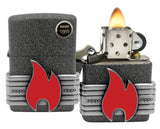 Zippo 29663 Red Flame Vintage Wrap Iron Stone Finish Windproof Pocket Lighter