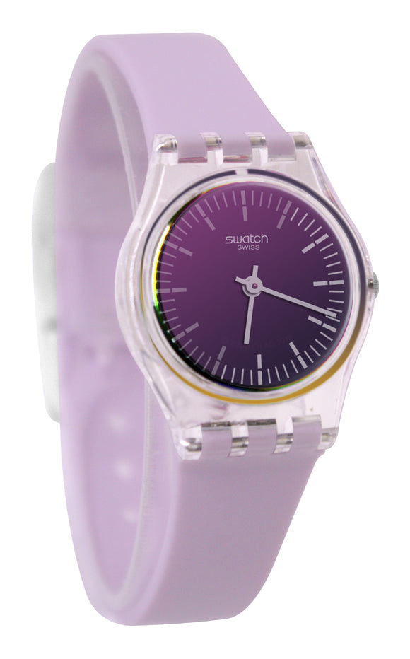 Swatch LK390 Ultraviolet Violet Solar Glass Dial Purple Silicone Band Watch New