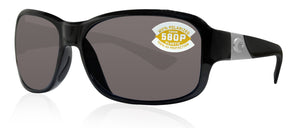 Costa Del Mar Inlet Shiny Black Frame Gray 580P Plastic Polarized Lens