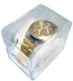 Swatch SVCK4032G Full Blooded Gold Chronograph Dial Steel Bracelet Watch New