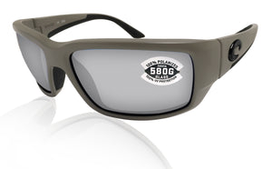 Costa Del Mar Fantail Moss Frame Gray Silver Mirror 580 Glass Polarized Lens