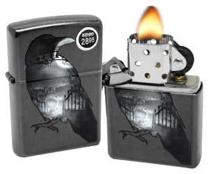 Zippo 29407 Double Exposed Raven Cemetery Gray Dusk Finish Windproof Lighter New