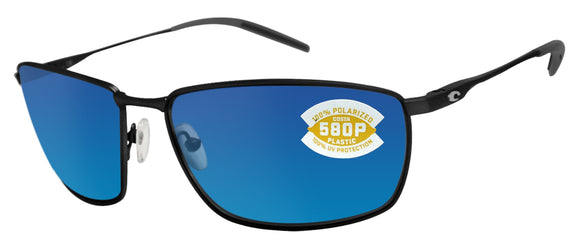 Costa Del Mar Turret Matte Black Frame Blue Mirror 580P Plastic Polarized Lens