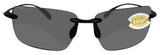 Costa Del Mar Gulf Shore Shiny Black Frame Gray 580P plastic Polarized Lens