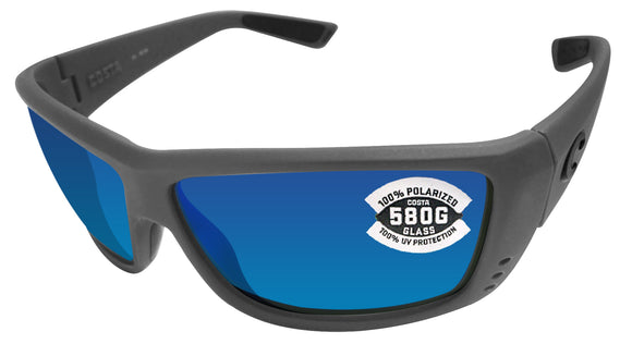 Costa Del Mar Cat Cay Matte Gray Frame Blue Mirror 580 Glass Polarized Lens