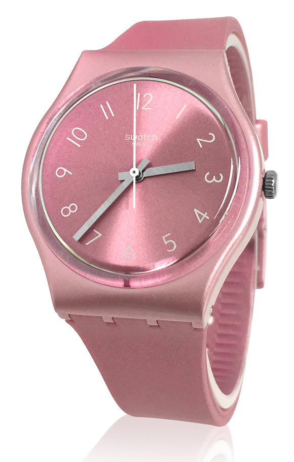 Swatch GP161 So Sun Brushed Pink Dial Shiny Metallic Band Watch New