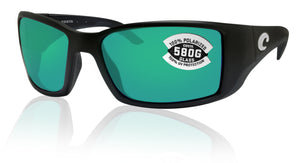 Costa Del Mar Blackfin Matte Black Frame Green Mirror 580G Glass Polarized Lens