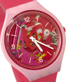 Swatch SVOP100 Skinamour Transparent Dial Pink Silicone Rubber Band Skin Watch