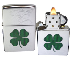 Zippo 24699 4 Leaf Irish Clover Luck High Polish Chrome Classic Lighter