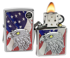 Zippo 29508 Eagle United States American Flag Brushed Chrome Finish Lighter New