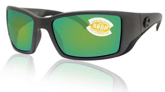 Costa Del Mar Blackfin Matte Gray Frame Green Mirror 580P Plastic Polarized Lens