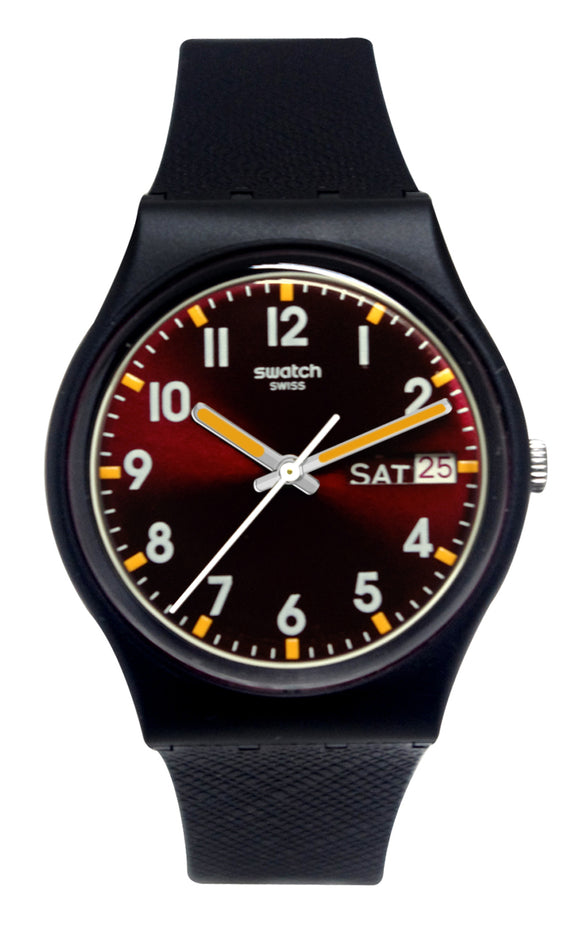Swatch GB753 Sir Red Analog Day Date Dial Black Silicone Strap Unisex Watch NEW