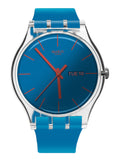 Swatch SUOK711 Polablue Blue Solar Spectrum Glass Dial Silicone Band Watch New
