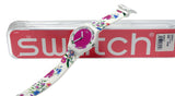 Swatch SUOW127 Fiorinella Pink Dial White Floral Print Silicone Unisex Watch New