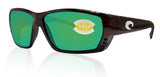 Costa Del Mar Tuna Alley Tortoise Frame Green Mirror 580P Plastic Polarized Lens