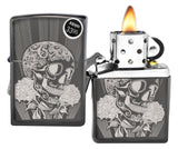 Zippo Lighter 29883 Fancy Skull Design Black Ice Chrome Finish Windproof New