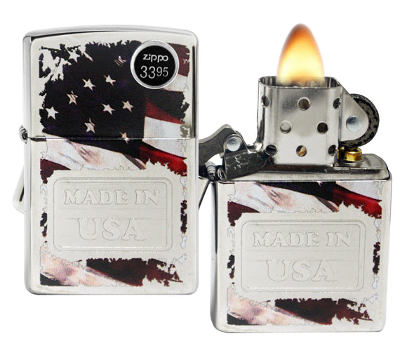 Zippo 29679 Made In USA American Flag High Polish Chrome Windproof Lighter