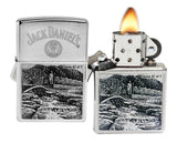 Zippo 29179 Jack Daniel's Scenes Lynchburg Chrome Windproof Lighter New