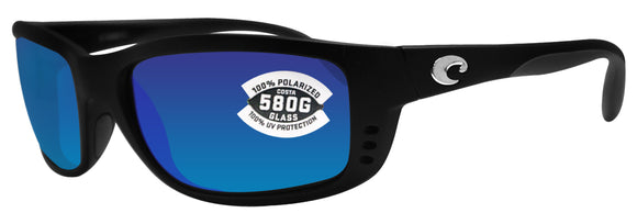 Costa Del Mar Zane Matte Black Frame Blue Mirror 580G Glass Polarized Lens