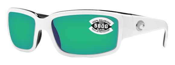 Costa Del Mar Caballito White Black Frame Green Mirror 580G Glass Polarized Lens