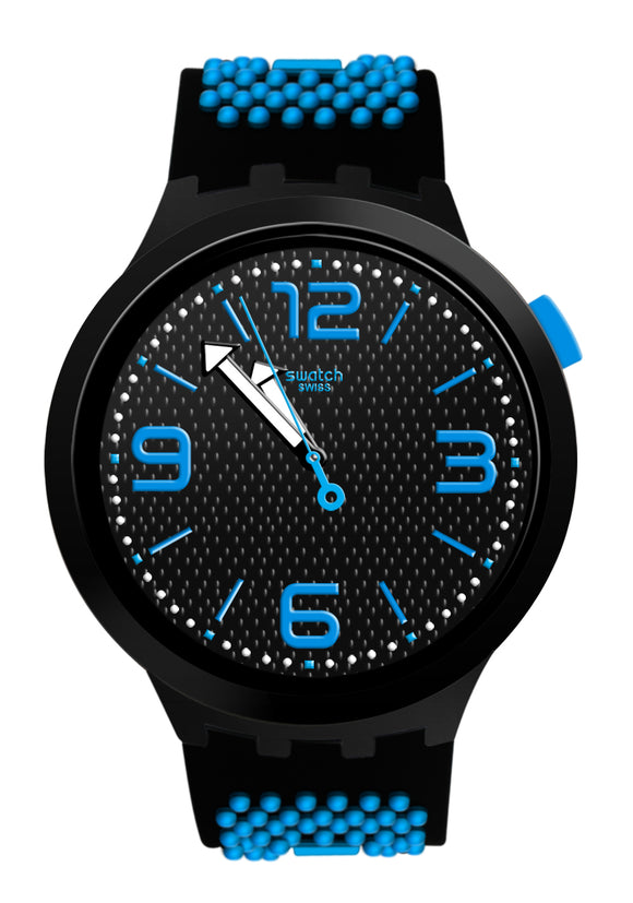 Swatch SO27B101 Big Bold BB Blue Black Analog Dial Silicone Band Watch New