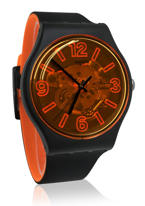 Swatch SUOB164 Orangeboost Orange Black Watch New