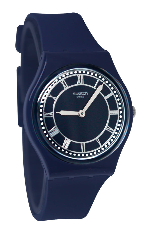 Swatch GN254 Blue Ben Analog Dial Silicone Band Watch New