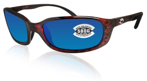 Costa Del Mar Brine Tortoise Frame Blue Mirror 580G Glass Polarized Lens