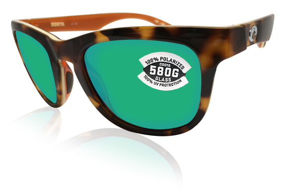 Costa Del Mar Copra Retro Tortoise Frame Green Mirror 580 Glass Lens